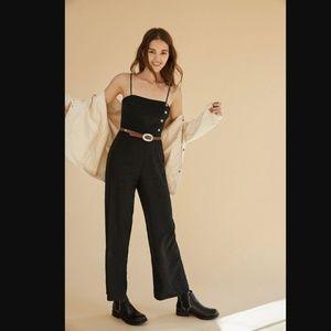 UO Straight-Neck Linen Black Button-Down Jumpsuit